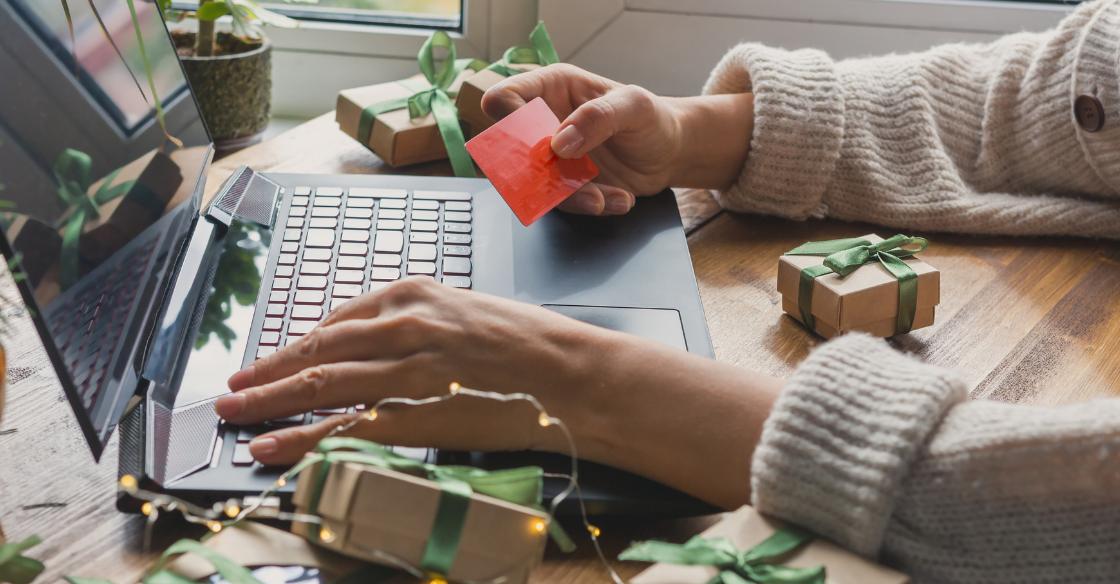 online shopper during Christmas