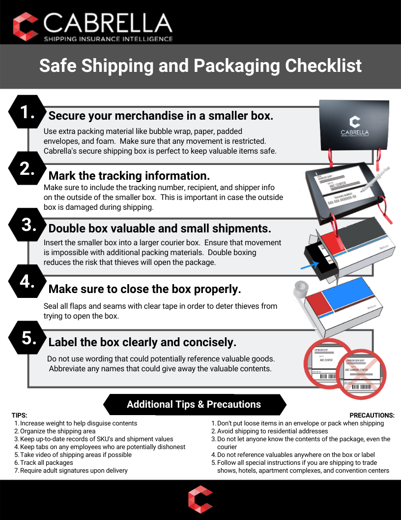 cabrella safe shipping and packaging checklist