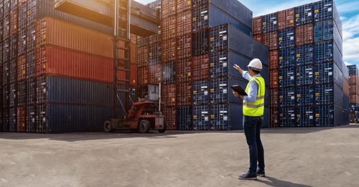 Man at a shipping yard