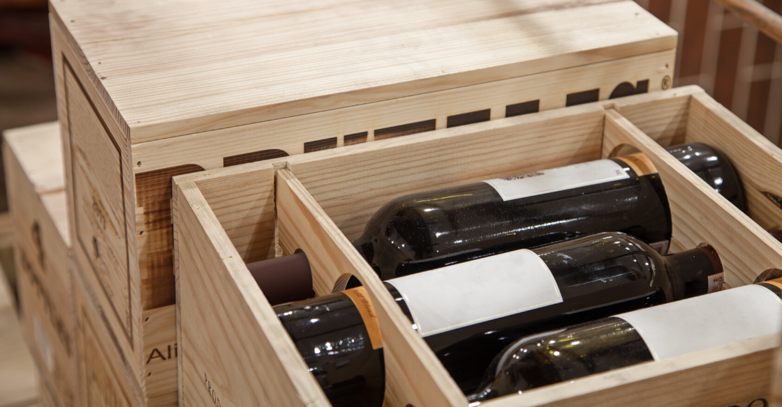 shipping boxes with wine bottles