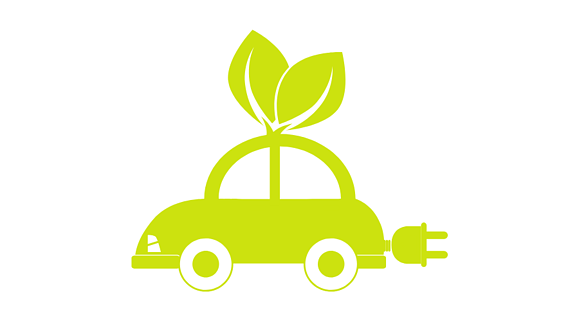 green-colored, cartoon electric car with an electric plug coming out of the back and a plant growing from the top