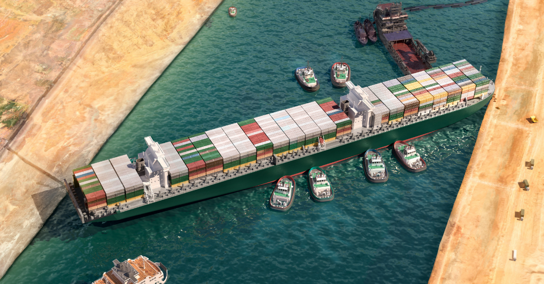 Ship stuck in the Suez Canal