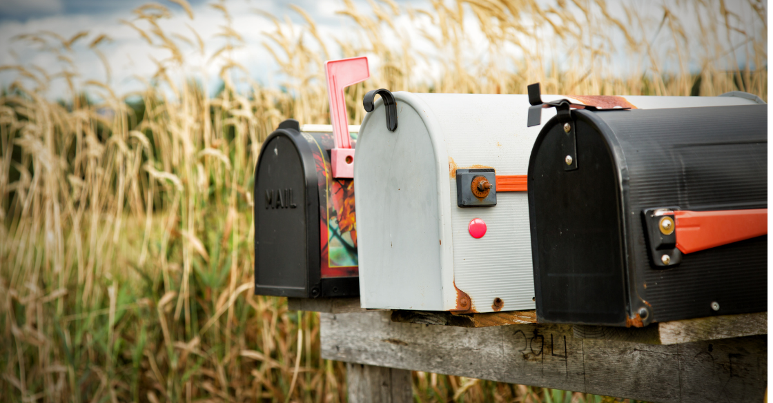 Mailboxes in a rural area