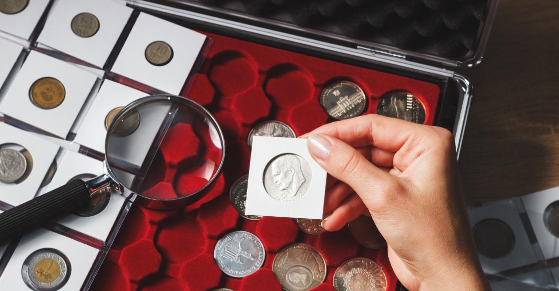 Person examining their precious coin collection