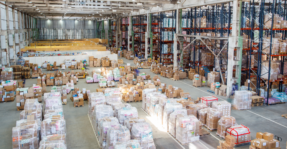 Products being stored in a warehouse